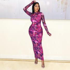 Women's Long-sleeved Printed Dress Nihaostyles Clothing Wholesale NSOSD79647