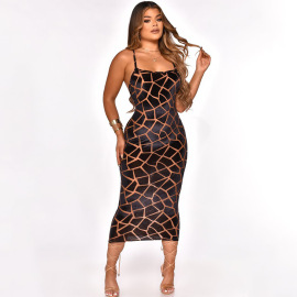 Women's Halter Strap Print Dress Nihaostyles Clothing Wholesale NSOSD79649