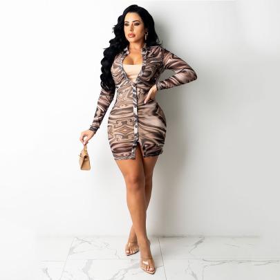 Women's Tight-fitting Mesh Printed Dress Nihaostyles Clothing Wholesale NSOSD79652