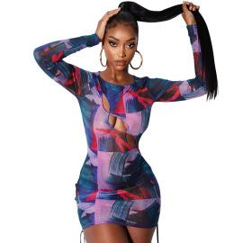Women's Mesh Long-sleeved Printing Dress Nihaostyles Clothing Wholesale NSOSD79658