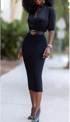 Autumn And Winter Women's V-neck Slim Dress Nihaostyles Wholesale Clothing NSYIS80679