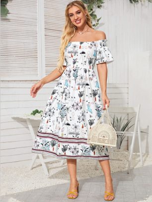 Autumn And Winter Women's Off-shoulder Tube Top Floral Print Big Swing Dress Nihaostyles Wholesale Clothing NSYIS80831