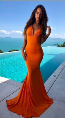 Women's Sexy Deep V Backless Package Hip Mopping Dress Nihaostyles Wholesale Clothing NSYIS80796