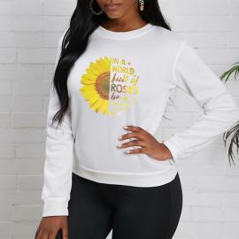 Sunflower Print Round Neck Fleece Sweatershirt  Nihaostyles Wholesale Clothing NSYAY80795