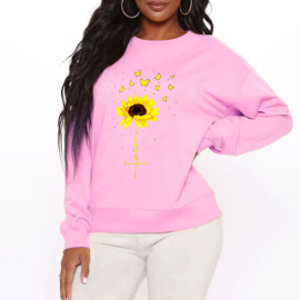 Sunflower Print Round Neck Fleece Sweatershirt Nihaostyles Wholesale Clothing NSYAY80830