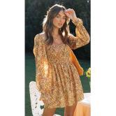 Autumn Women's Square Neck Elastic Slimming A-line Dress Nihaostyles Wholesale Clothing NSXPF79669