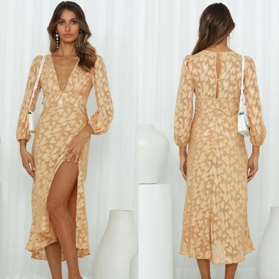 Autumn Women's V-neck Long-sleeved Side Slitted Dress Nihaostyles Wholesale Clothing NSXPF79670