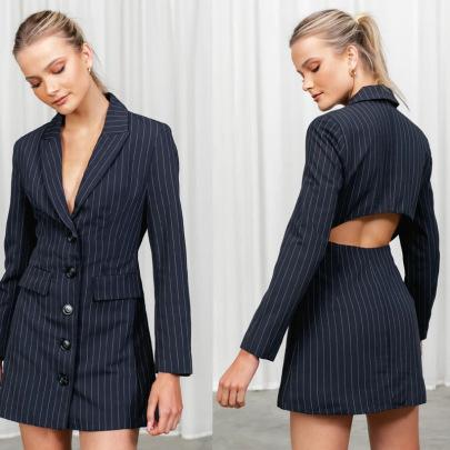 Autumn Women's Single-breasted Back-hollow Lapel Suit Striped Dress Nihaostyles Wholesale Clothing NSXPF79671