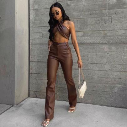 Autumn Women's Halterneck Vest And Slim Straight Trousers Suit Nihaostyles Wholesale Clothing NSXPF79679