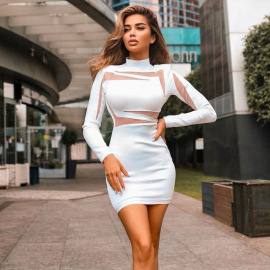 Spring Women's Round Neck Long-sleeved Package Hip Dress Nihaostyles Wholesale Clothing NSXPF79688