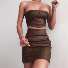 spring women's off-shoulder wrapped chest slim package hip short skirt suit nihaostyles wholesale clothing NSXPF79702
