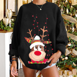 Women's Dropped Shoulder Round Neck  Elk Printing Fleece Sweatershirt Nihaostyles Wholesale Christmas Costumes NSYUM79715
