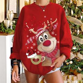 Women's Dropped Shoulder Round Neck Elk Printing Fleece Sweatershirt Nihaostyles Wholesale Christmas Costumes NSYUM79718