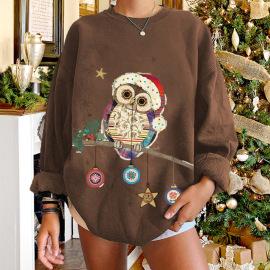 Women's Dropped Shoulder Round Neckowl Animal Printed Fleece Sweatershirt Nihaostyles Wholesale Christmas Costumes NSYUM79723