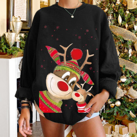 Women's Round Neck Dropped Shoulder Elk Printed Sweatershirt Nihaostyles Wholesale Christmas Costumes NSYUM79724