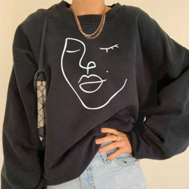 Women's Round Neck Dropped Shoulder Stick Figure Fleece Sweatershirt Nihaostyles Wholesale Costumes NSYUM79728