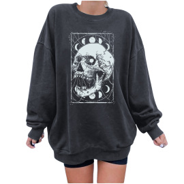 Women's Round Neck Dropped Shoulder Loose Skull Print Fleece Sweatershirt Nihaostyles Wholesale Clothing NSYUM79730
