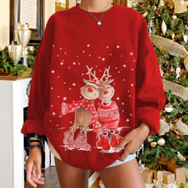 Women's Round Neck Elk Print Fleece Sweatershirt Nihaostyles Wholesale Christmas Costumes NSYUM79733