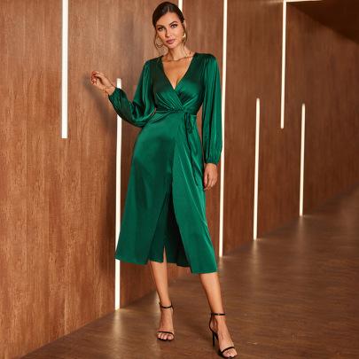 Women's V-neck Lace-up Satin Long-sleeved Slit Dress Nihaostyles Clothing Wholesale NSWX79735