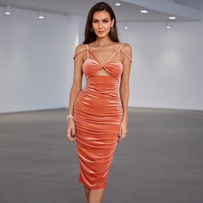 Women's Velvet Tube Top Hollow Back Dress Nihaostyles Clothing Wholesale NSWX79736
