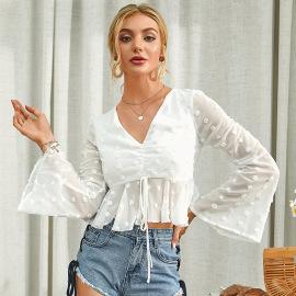 Women's V-neck Polka-dot Short Flared Sleeve Top Nihaostyles Clothing Wholesale NSWX79739