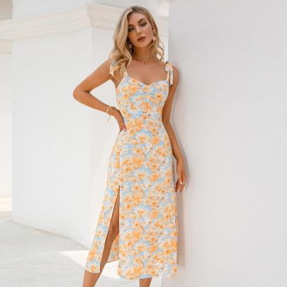 Women's Print Strappy Slit Dress Nihaostyles Clothing Wholesale NSWX79742
