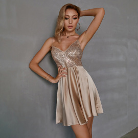 Women's Pure Color V-neck Sequined Slim Suspender Dress Nihaostyles Clothing Wholesale NSWX79743