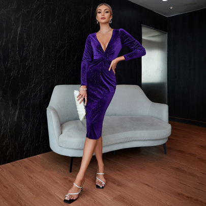 Women's V-neck Long-sleeved Tight-fitting Dress Nihaostyles Clothing Wholesale NSWX79744