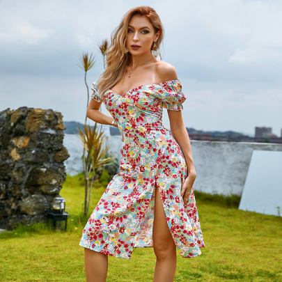 Women's Printed Puff Sleeve Off-shoulder Slit Dress Nihaostyles Clothing Wholesale NSWX79745