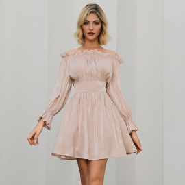 Women's Long Sleeve Off-shoulder Dress Nihaostyles Clothing Wholesale NSWX79749