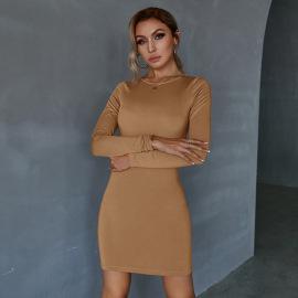 Women's Drawstring Slim Pure Color Long Sleeve Dress Nihaostyles Clothing Wholesale NSWX79748
