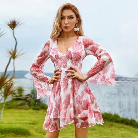 Women's V-neck Flared Sleeves Print Chiffon Dress Nihaostyles Clothing Wholesale NSWX79750