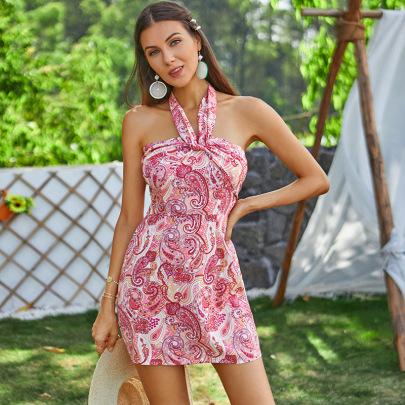 Women's Printed Halterneck Dress Nihaostyles Clothing Wholesale NSWX79752