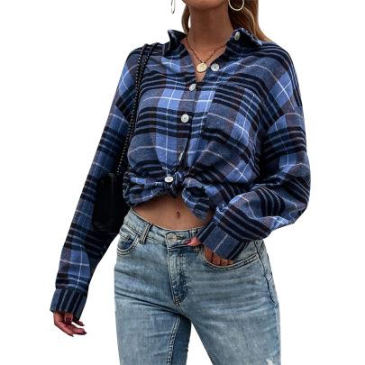 Women's Lapel Long-sleeved Plaid Shirt Nihaostyles Clothing Wholesale NSJM79760