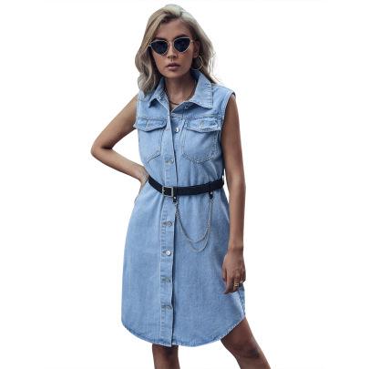 Women's Lapel Sleeveless Denim Dress Nihaostyles Clothing Wholesale NSJM79761