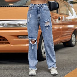 Women's High-waist Ripped Straight Jeans Nihaostyles Clothing Wholesale NSJM79764