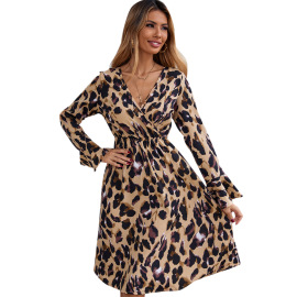 Women's V-neck Long-sleeved Leopard Print Chiffon Irregular Dress Nihaostyles Clothing Wholesale NSJM79769