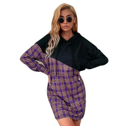 Women's Mid-length Plaid Stitching Hoodie Nihaostyles Clothing Wholesale NSJM79770