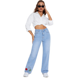Women's Printed Straight Jeans Nihaostyles Clothing Wholesale NSJM79773