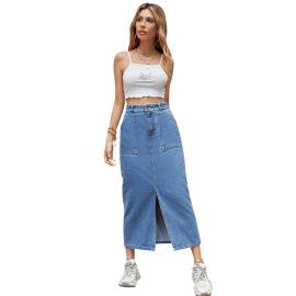 Women's Slit Denim Skirt Nihaostyles Clothing Wholesale NSJM79776