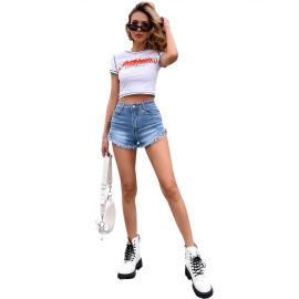 Women's High-waisted Frayed Denim Shorts Nihaostyles Clothing Wholesale NSJM79778