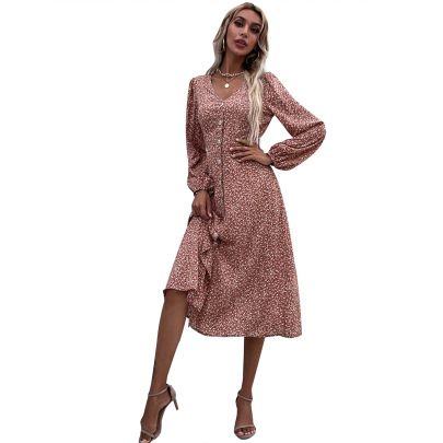 Women's Floral V-neck Long-sleeved Slim Dress Nihaostyles Clothing Wholesale NSJM79781