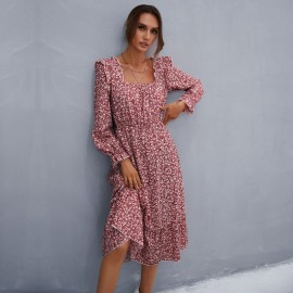 Women's Square Neck Long Sleeve Ruffle Floral Chiffon Dress Nihaostyles Wholesale Clothing NSDMB79791