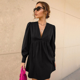 Autumn And Winter Women's V-neck Slimming Bubble Sleeve A-line Dress Nihaostyles Wholesale Clothing NSYSQ79802
