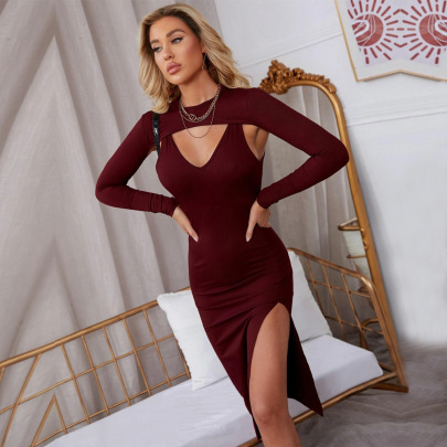 Autumn And Winter Women's Split Long-sleeved Blouse Sling Mid-length Dress Two-piece Nihaostyles Wholesale Clothing NSYSQ79808