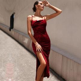 Women's Slimming Velvet Sleeveless Sling Splitted Mid-length Dress Nihaostyles Wholesale Clothing NSYSQ79806
