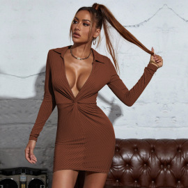 Autumn And Winter Women's Big V-neck Lapelled Package Hip Long-sleeved Short Dress Nihaostyles Wholesale Clothing NSYSQ79812