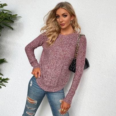 Autumn And Winter Women's Round Neck Irregular Hem Long Sleeve Pullover Sweater Nihaostyles Wholesale Clothing NSYSQ79818