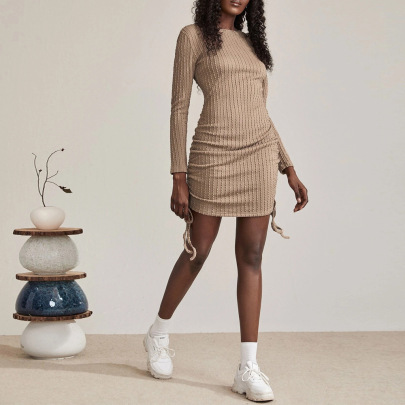 Autumn And Winter Women's Round Neck Pleated Package Hip Knitted Dress Nihaostyles Wholesale Clothing NSYSQ79819