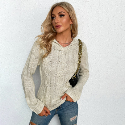 Autumn And Winter Women's Scarf Collar Long-sleeved Twist Knitted Pullover Sweater Nihaostyles Wholesale Clothing NSYSQ79821